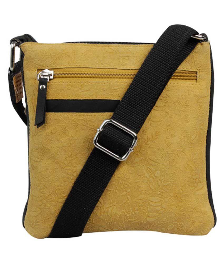 H.u.n.t Yellow Leather Sling Bag