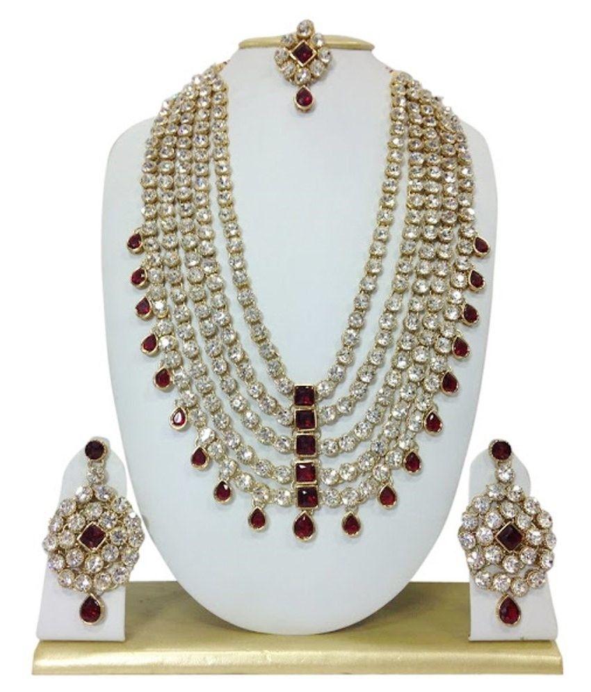 Sewad Silver & Maroon Alloy Necklace Set