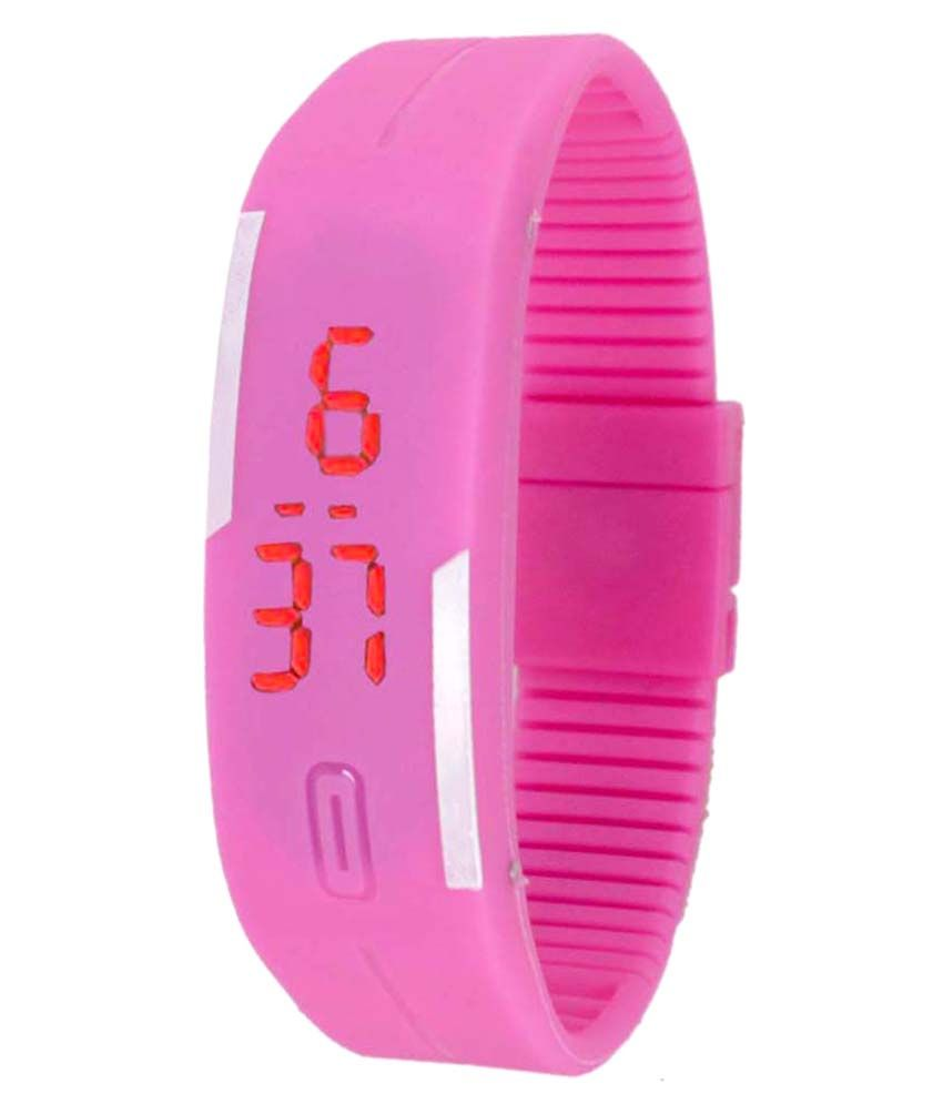 Pramukh Pink Rubber Wrist Watch