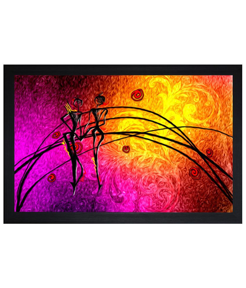 Saf Wood Matte Abstract Painting With Frame