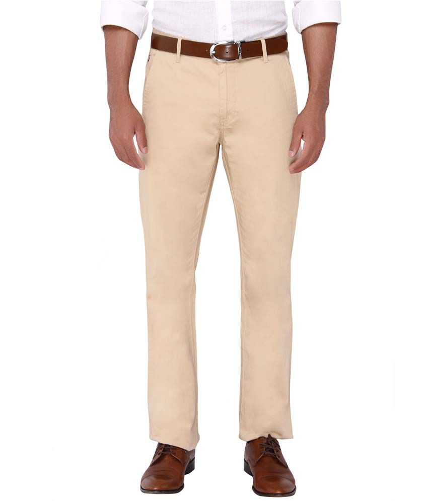 Springfield Beige Slim Fit Casual Chinos Trouser