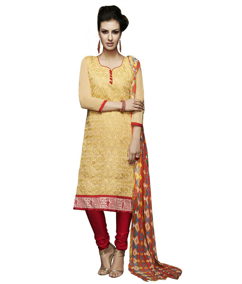 Apple Creation Beige Chanderi Unstitched Dress Material