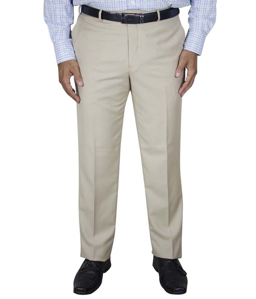Kinger Off-white Regular Fit Formal Flat Trouser