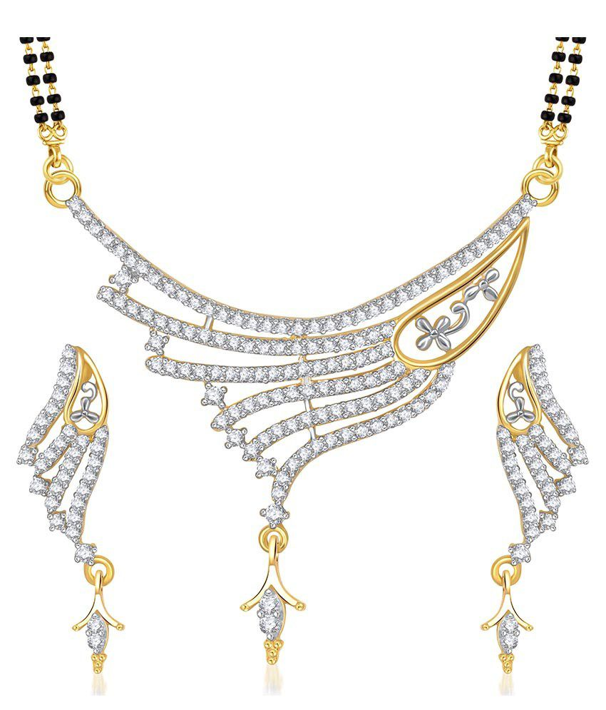 VK Jewels Golden Alloy Cubic Zirconia Mangalsutra Set