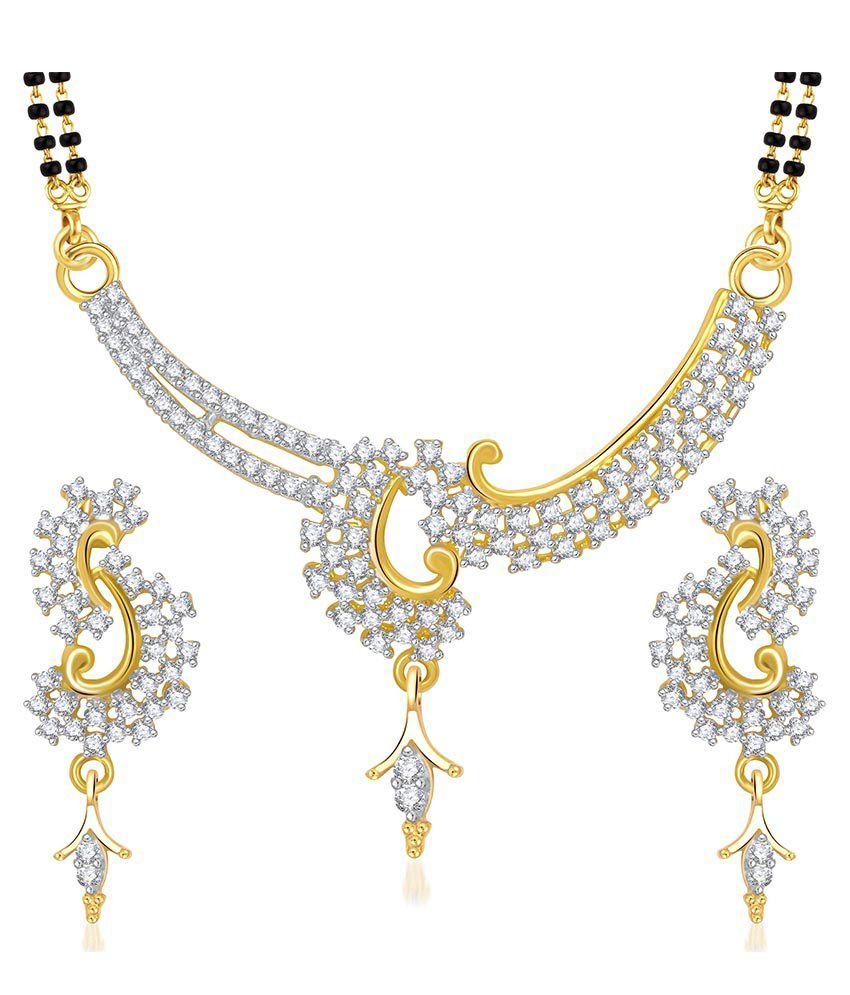 VK Jewels Golden Alloy Cubic Zirconia Mangalsutra Set