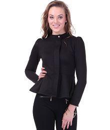 SASSAFRAS Turtle Neck Black Peplum Fleece Jacket