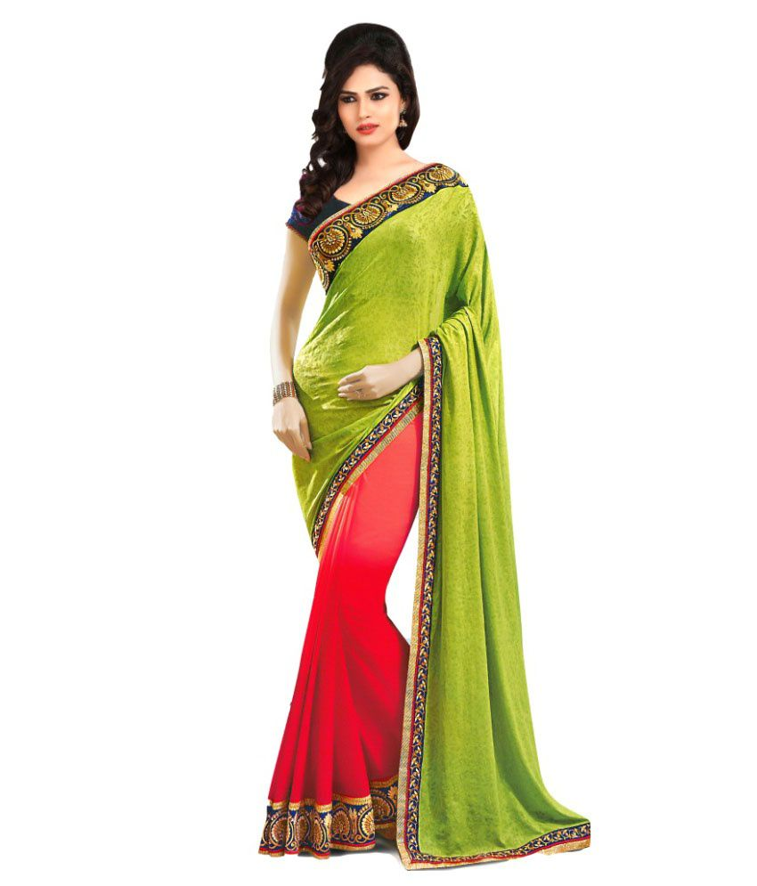 Apple Creation Green Faux Georgette Saree