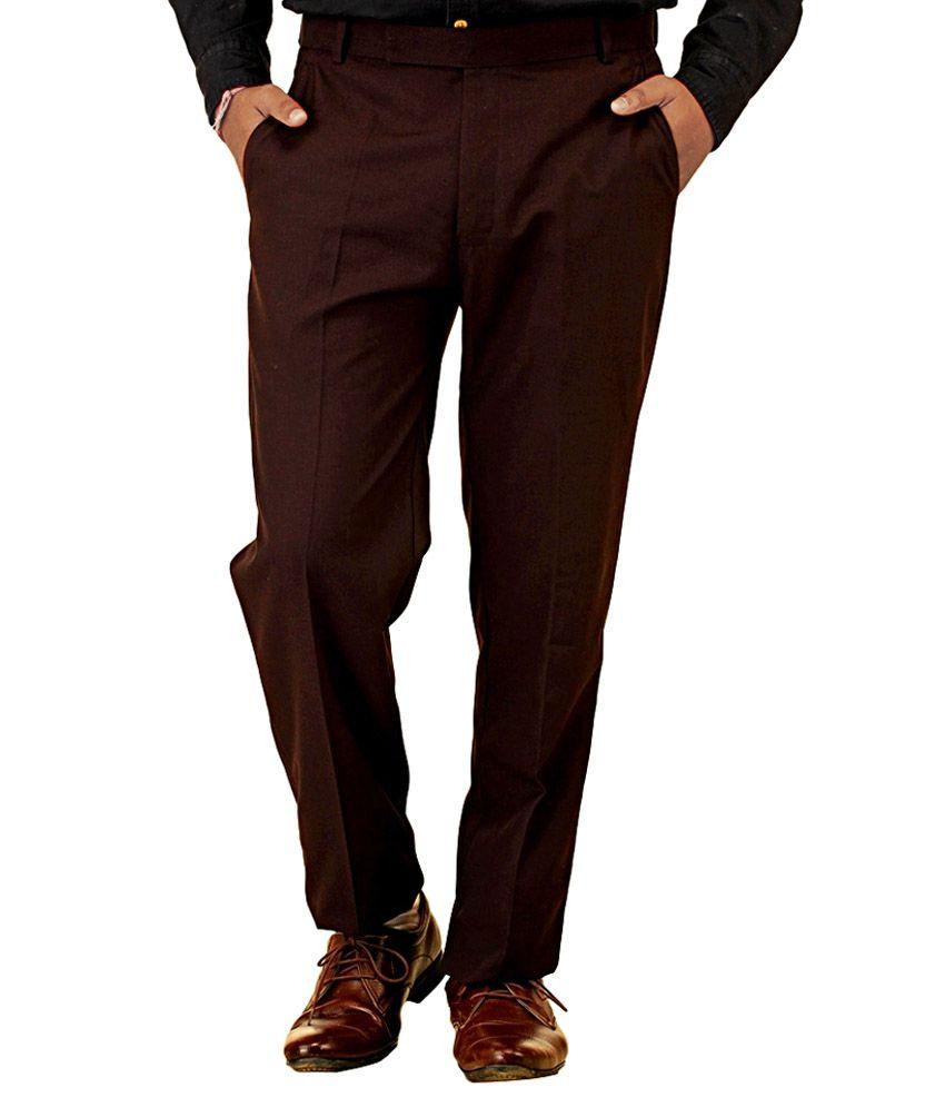 Paul Wilson Dark Brown Poly Viscose Regular Fit Formal Trouser For Men