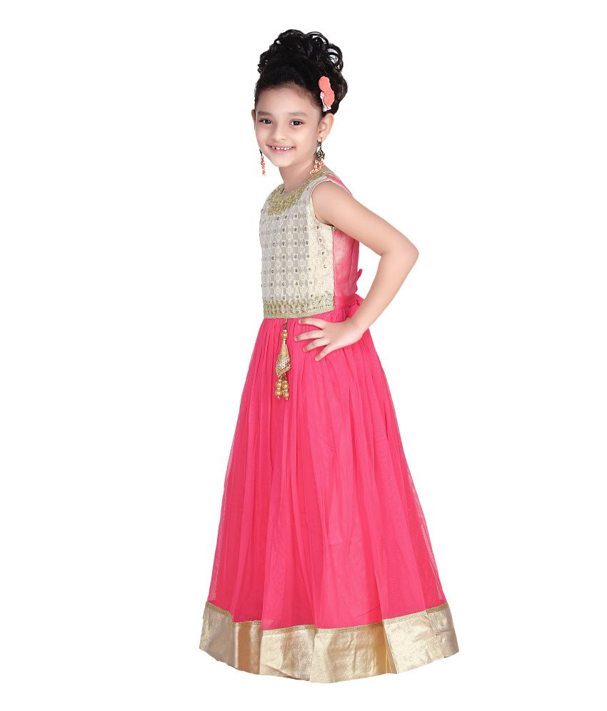Trendy Girls Pink Long Gown For Girls - Buy Trendy Girls Pink Long ...