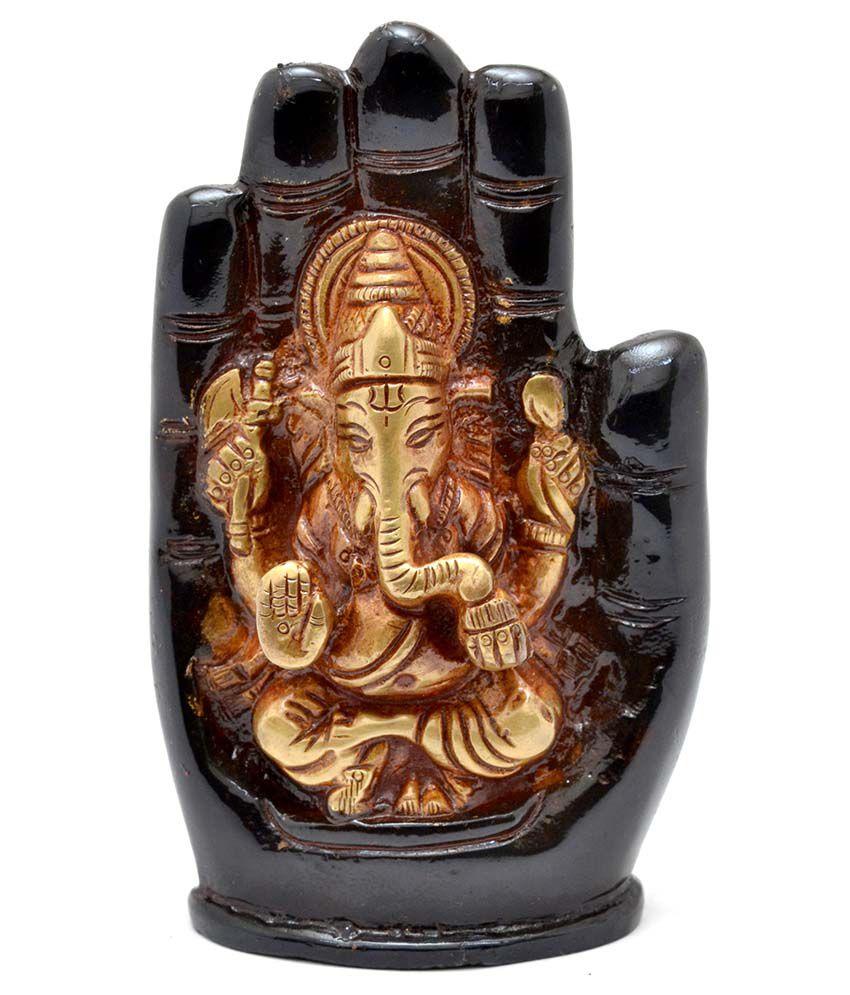 Two Moustaches Aashirwaad Ganesha Brass Idol - Golden