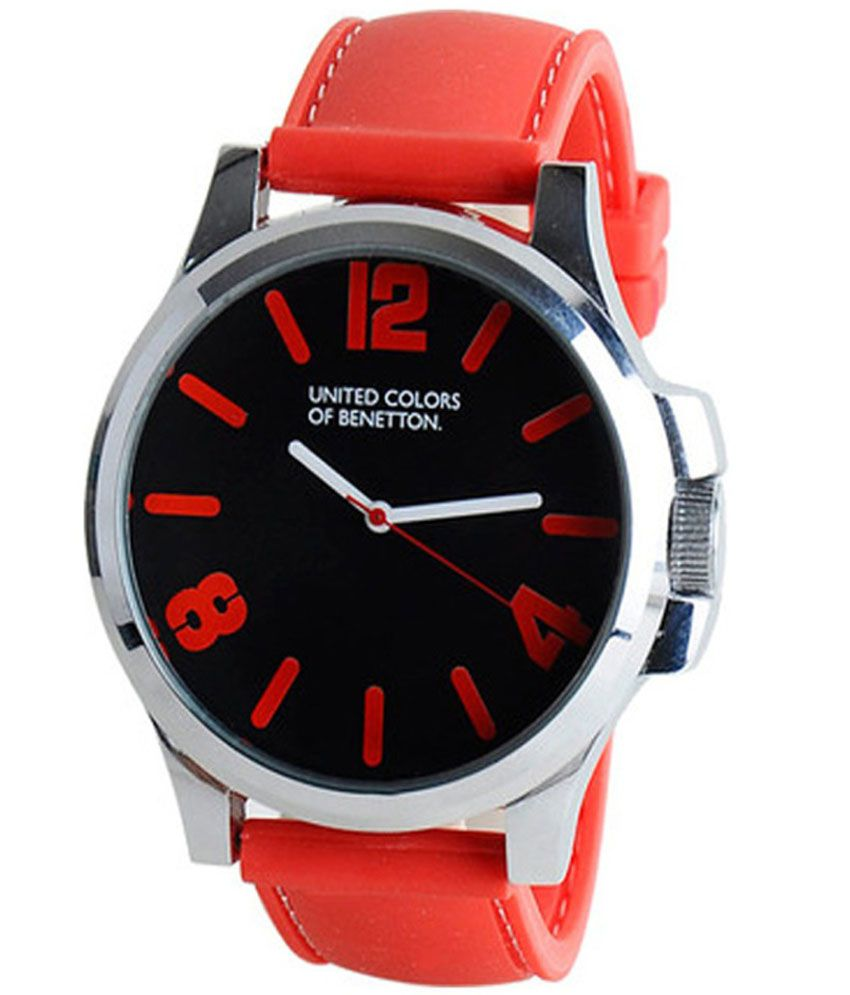 united colors of benetton red leather analog watch buy. Black Bedroom Furniture Sets. Home Design Ideas
