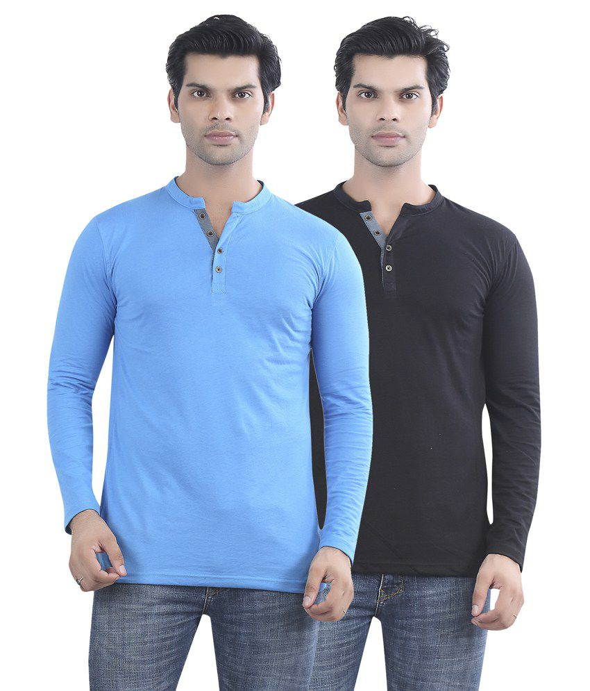 Maniac Blue And Black Cotton T-shirt - Pack Of 2