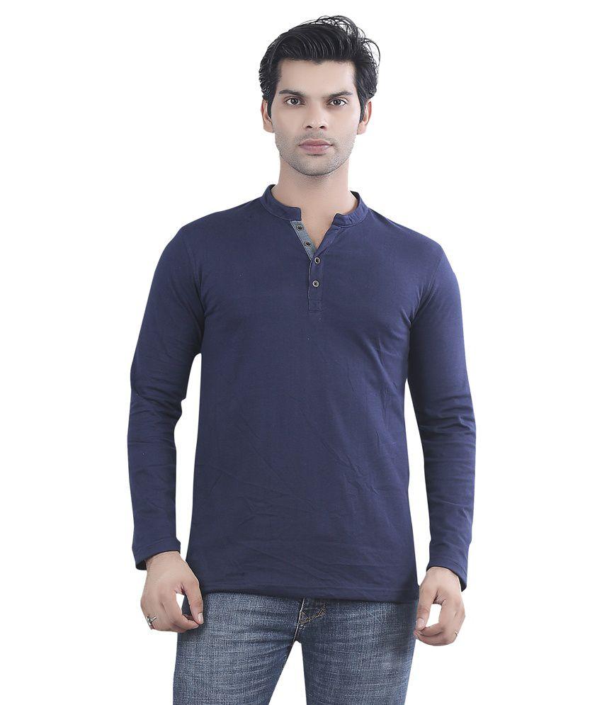 Maniac Navy Blue Cotton T-shirt