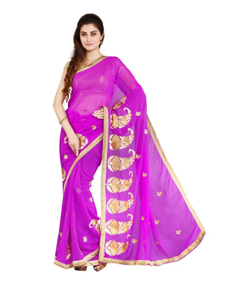 Parchayee Purple and Golden Faux Chiffon Embroidered Saree with Blouse Piece