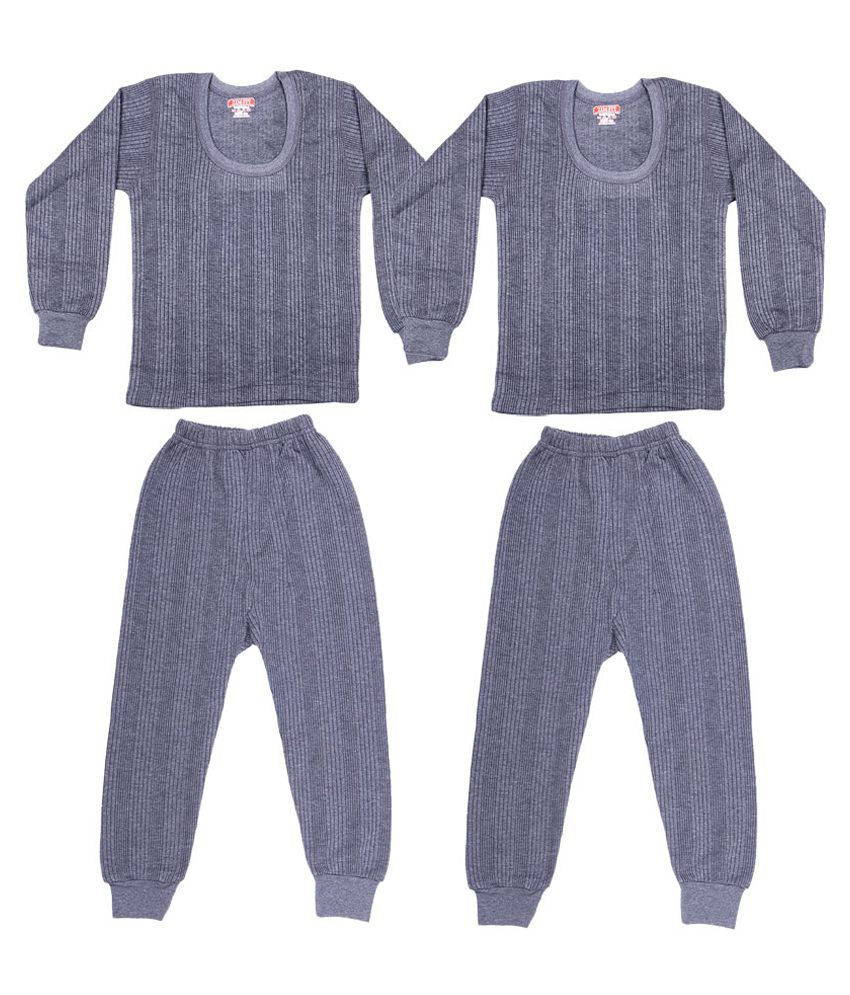 Zimfit Grey Cotton Blended Thermal - Set Of 2