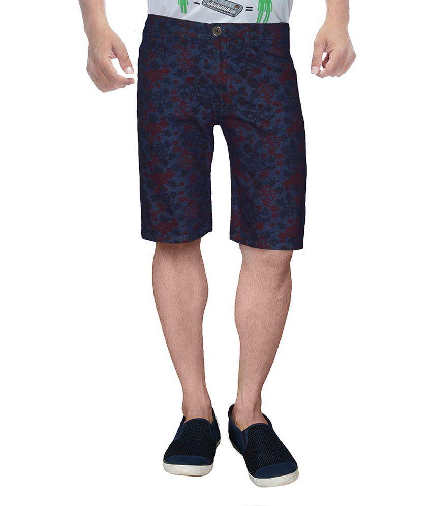 Clickroo Blue Cotton Denim Shorts