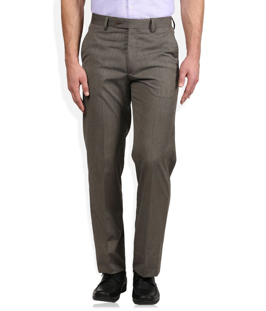 Geoffrey Beene Brown Solid Flat Front Trousers