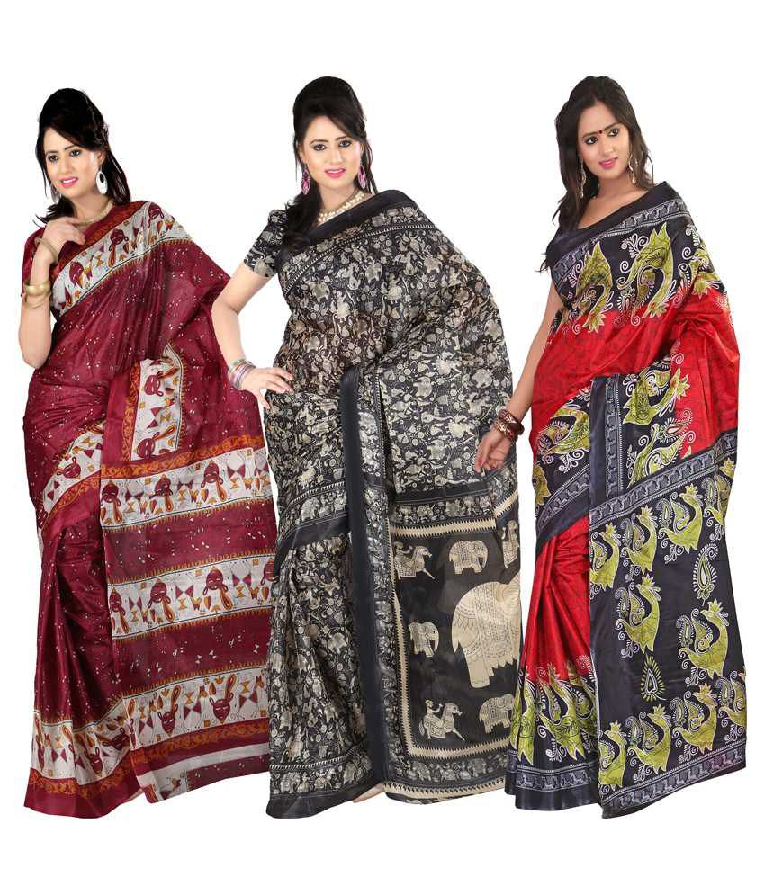 Kajal Sarees Multi Art Silk Pack of 3