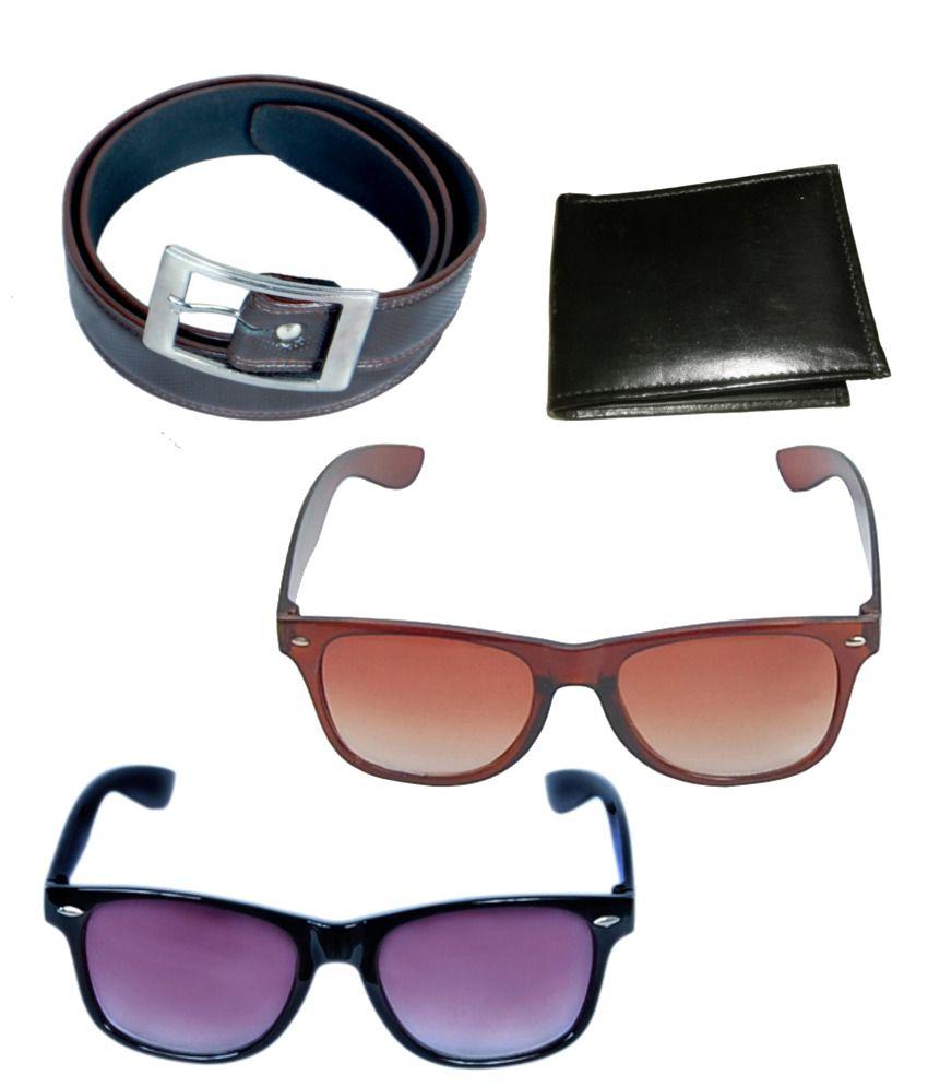 KVELL Be Proud Present's Combo Of Shinning Bronw Belt , Wallet , Black-Purple & Brown Wayfare