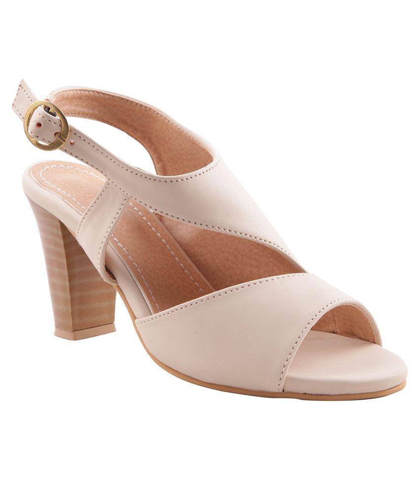 Adorn Beige Block Heel Sandals