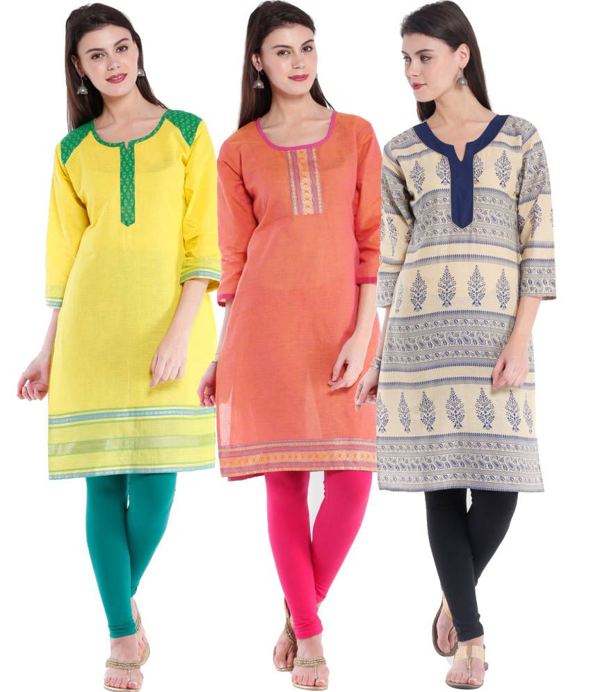 Almas Multicolour Plain Cotton Kurti (Pack of 3)
