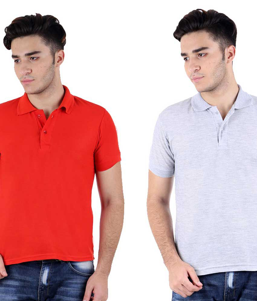 Christy World Multicolor Half Sleeve Basic Polo T-shirt - Pack Of 2