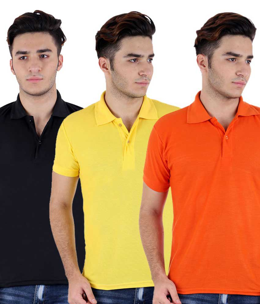 Christy World Multicolor Half Sleeve Basic Polo T-shirt - Pack Of 3