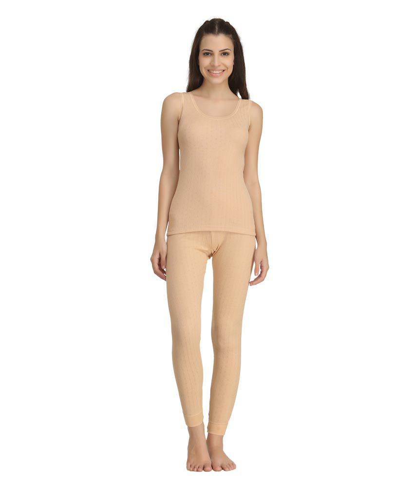 Kanvin Soft Sleeveless Thermal Set (Top And Bottom)