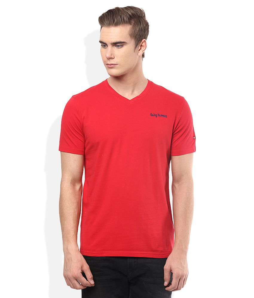 Being Human Red V-Neck T Shirt