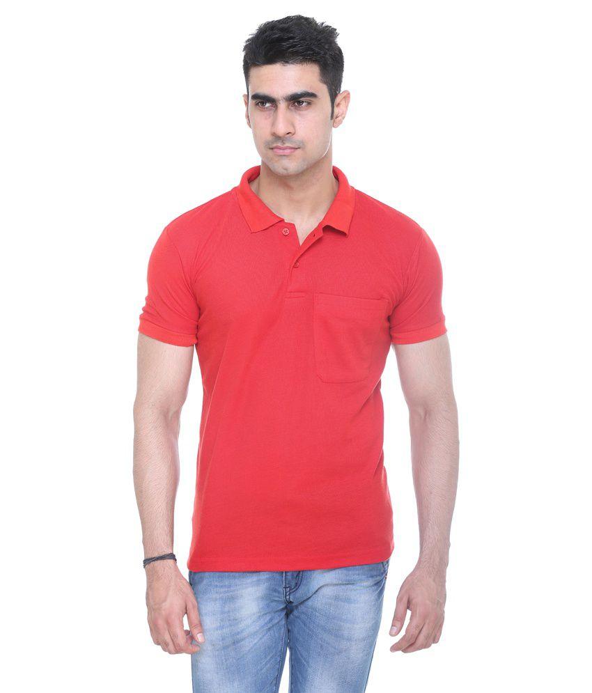 Colors & Blends Black Cotton Polo Neck T Shirt