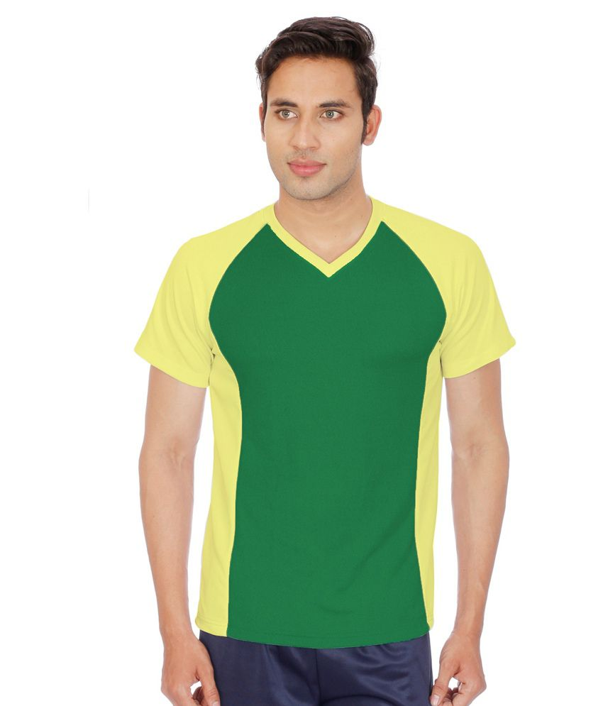 Sportee Yellow and Green Polyester Sports T-Shirt