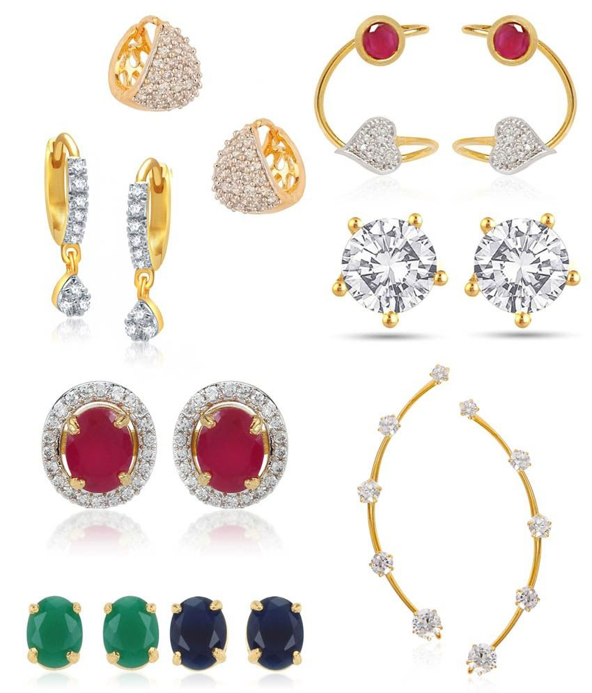 Jewels Galaxy Circular 6-in-1 Interchangeable Earring, 2 Earcuff and 3 Earrings - Combo Dhamaka