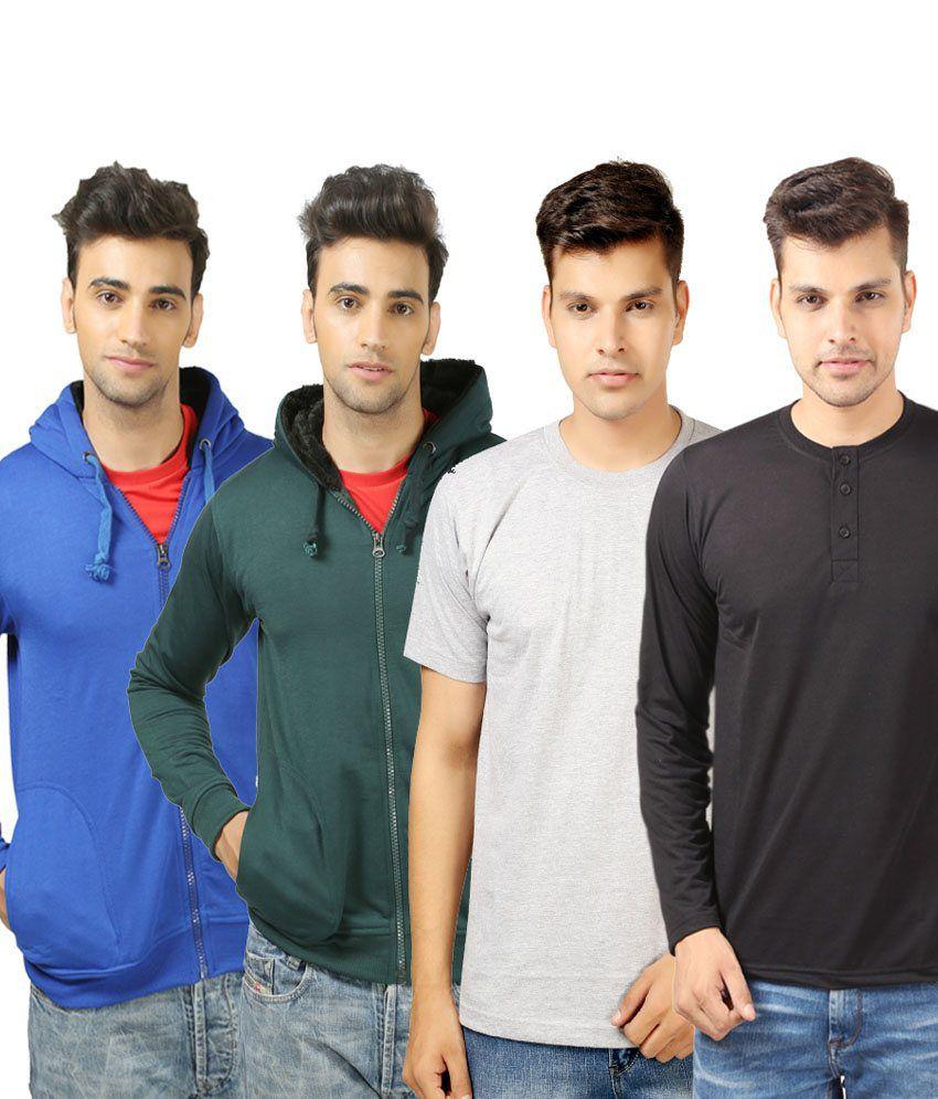 Etoffe Stylish Sweatshirt,round Neck And Henley T-shirts- Pack Of 4