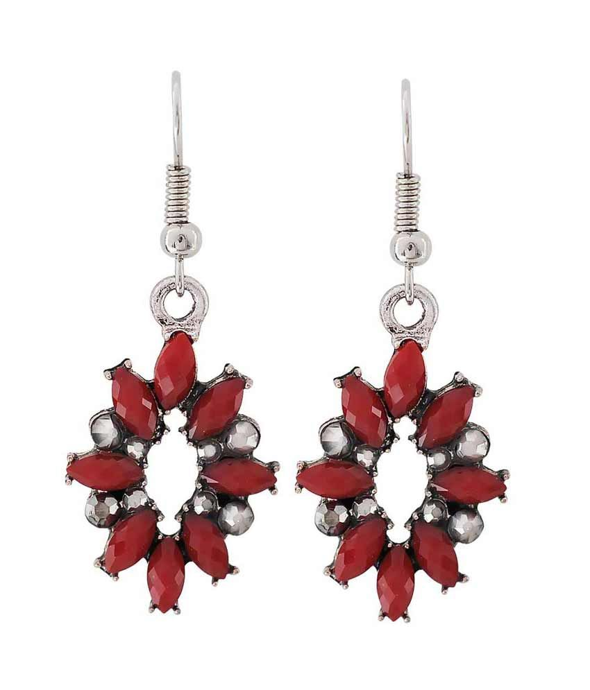 Maayra Red Alloy Hanging Earrings