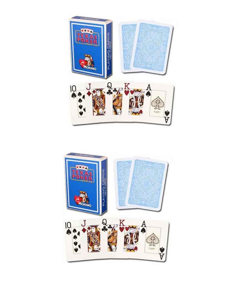 Modiano Texas Poker Jumbo Playing Cards - Light Blue (Buy 1 Get 1 Free)