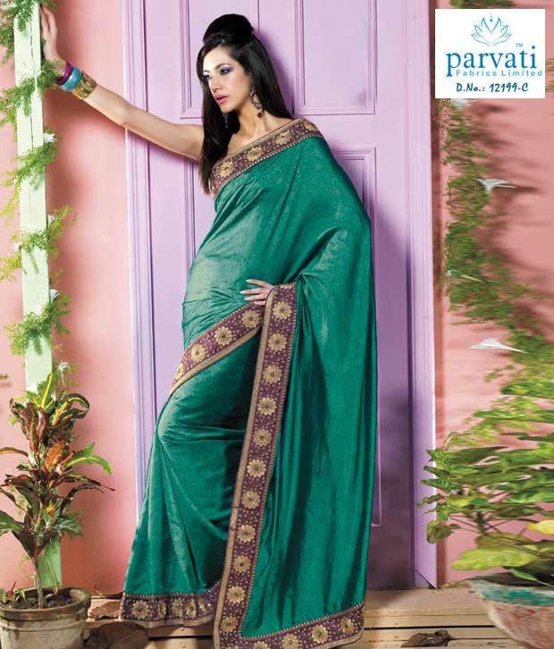 Parvati Sarees Sea Green Silk Jacquard Embroidered Saree