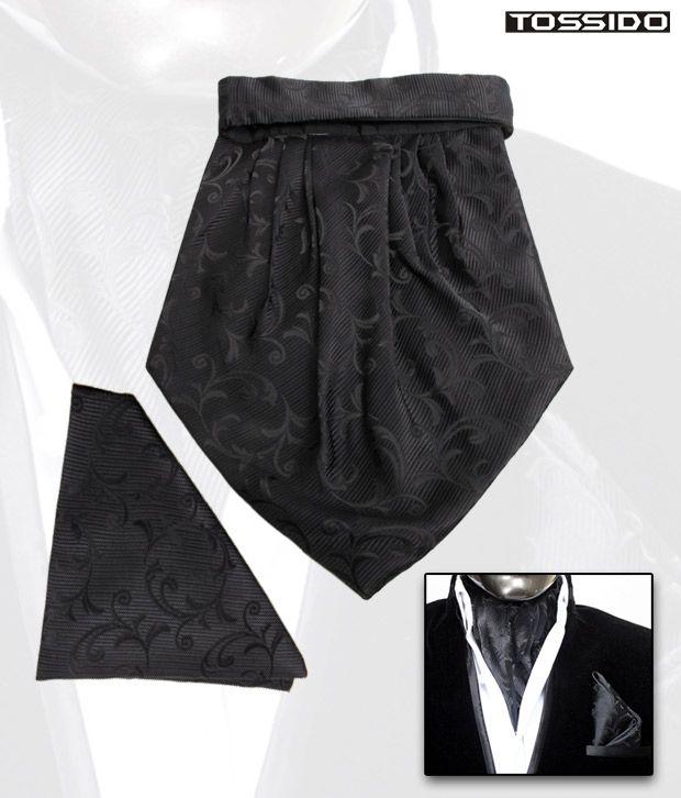 Tossido Black Cravat & Square Pocket Set