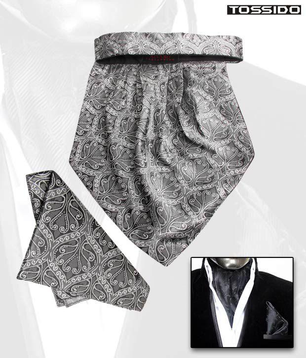 Tossido Grey Cravat & Square Pocket Set