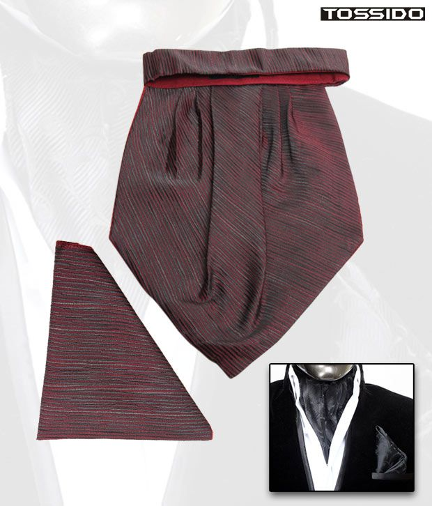 Tossido Maroon Cravat & Square Pocket Set