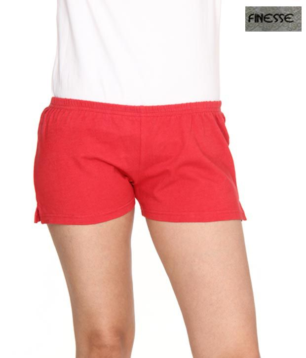 Finesse Red Cotton Shorts