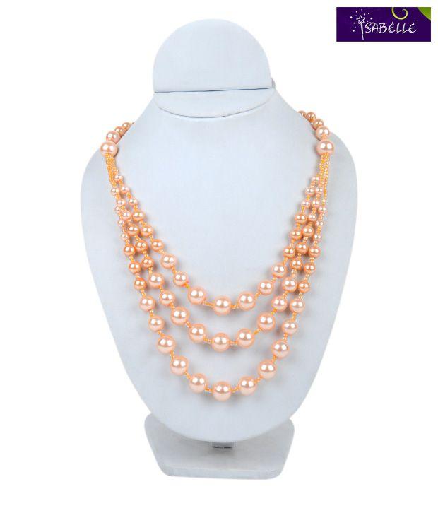 Isabelle Orange Pearl String Necklace For Kids