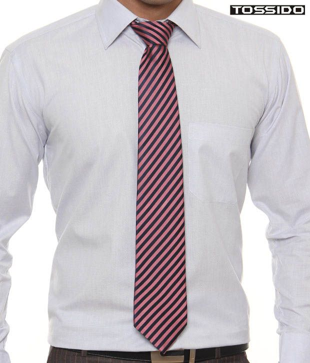 Tossido Pink & Blue Striped Tie