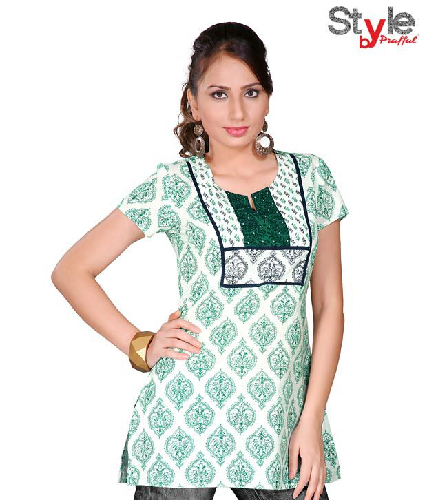 Style by Prafful Sober White-Green Cotton Kurti