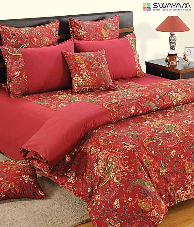 Swayam Red Paisley Print Comforter Buy Swayam Red