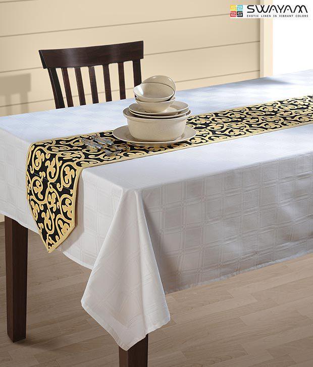 Swayam Black & Beige Dining Table Runner - Buy Swayam Black & Beige Dining Table Runner Online ...