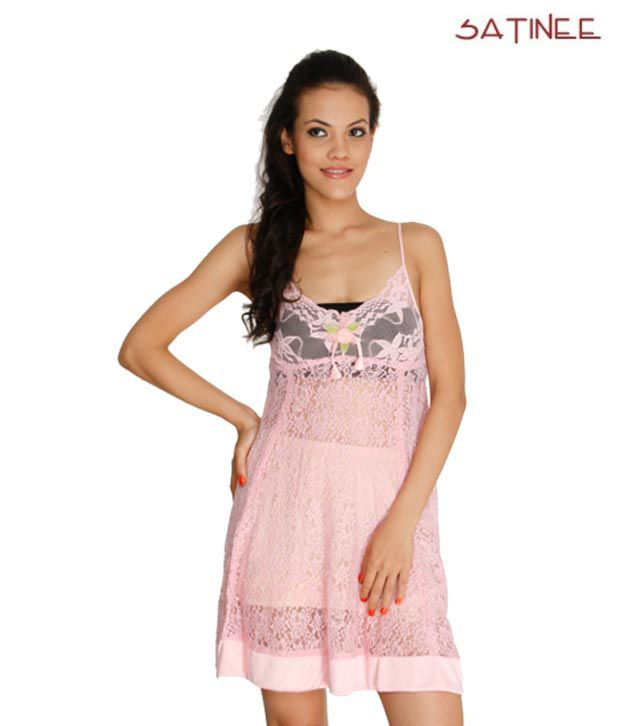Satinee Pink Net-Satin Baby Doll Dresses Pack of 2