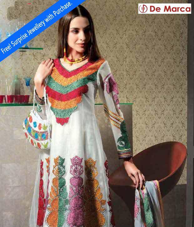 De Marca White Semi-Stitched Suit With Freebie Jewellery