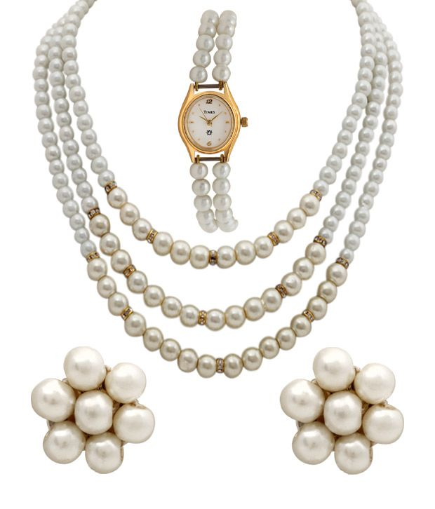 Oleva Triple Pearl String Necklace Set With Triple Pearl String Watch