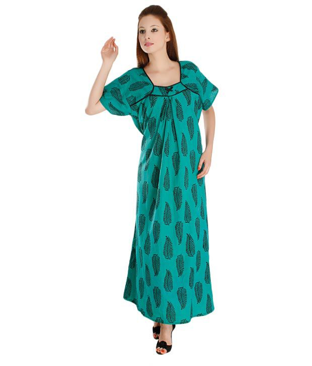 Plums And Peaches Green Cotton Nighty