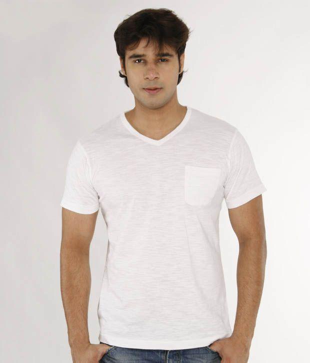 A For F White V-Neck T-Shirt